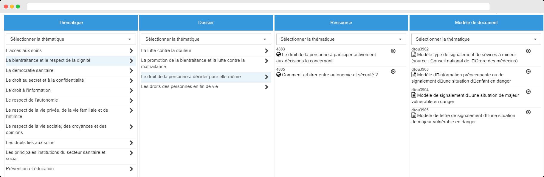 Capture d'écran sur l'affichage de la structure pour trouver un texte de veille réglementaire provenant de Weka (santé)