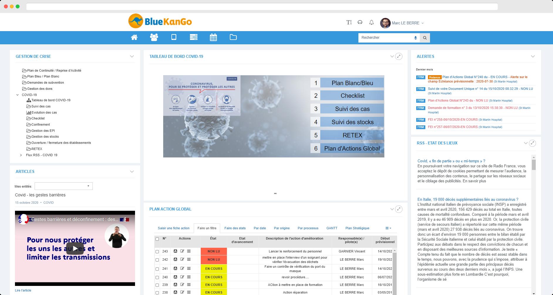 Capture d'écran du tableau de bord de la plateforme BlueKanGo concernant le module Covid-19