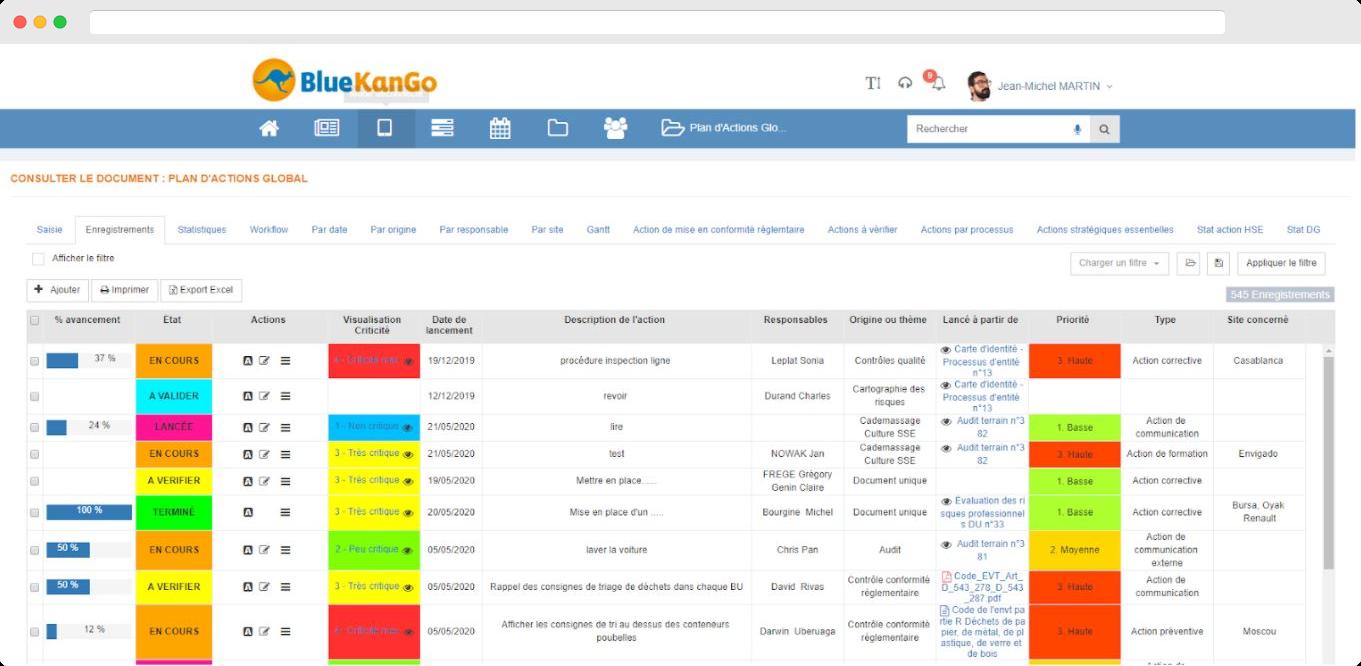 Capture d'écran du plan d'actions du module Integrated risk Management (BlueKanGo)