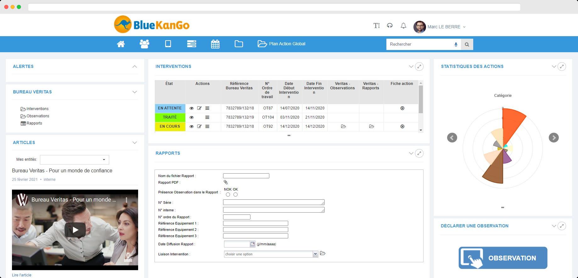Capture d'écran Tableau de bord des rapports Bureau Véritas sur la plateforme BlueKanGo