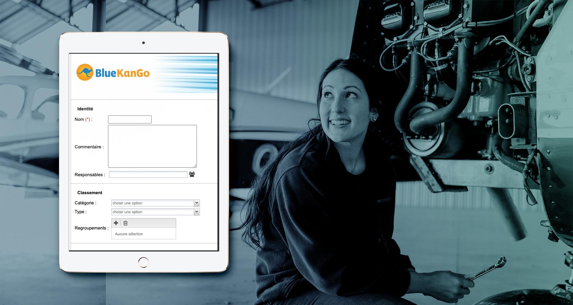 Aperçu mobile de la saisie d'élément sur la gestion de maintenance (BlueKanGo)