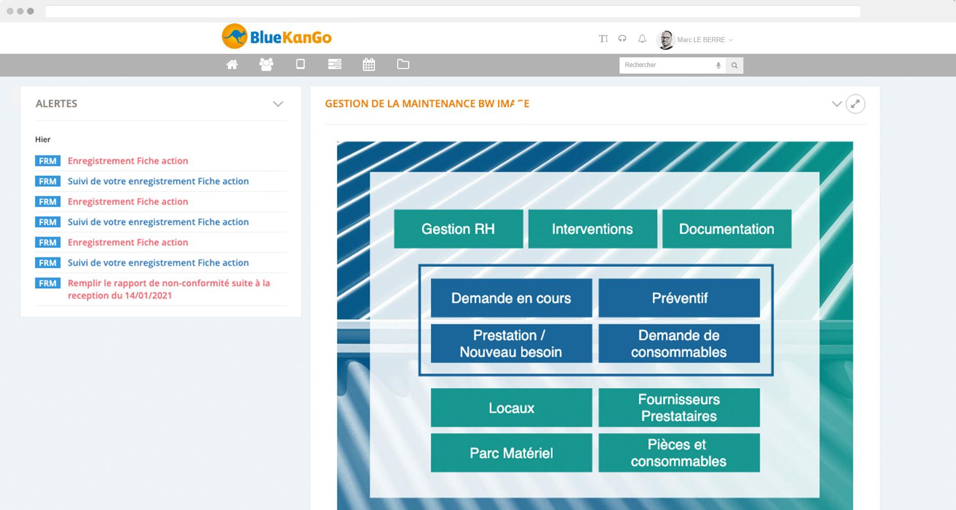Tableau de bord BlueKanGo Canada sur la gestion de la maintenance