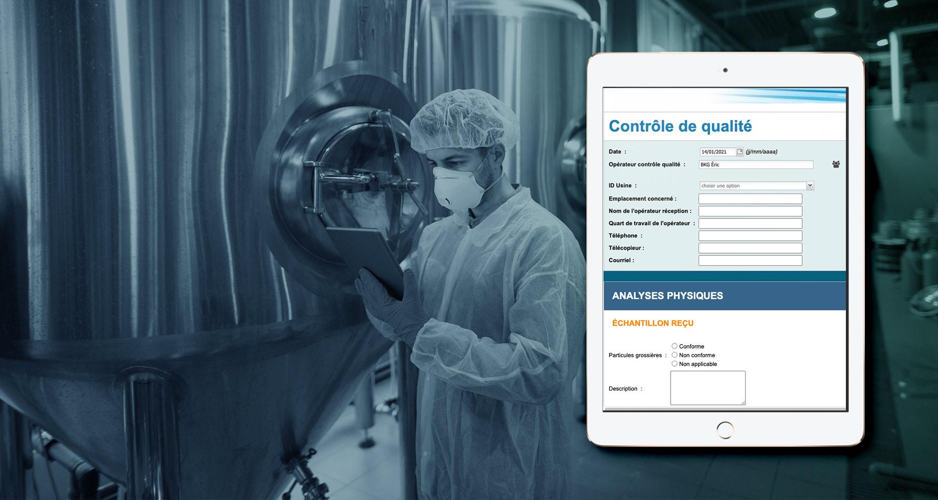 Exemple de formulaire de saisies de données sur une contrôle qualité (BleuKanGo Canada)