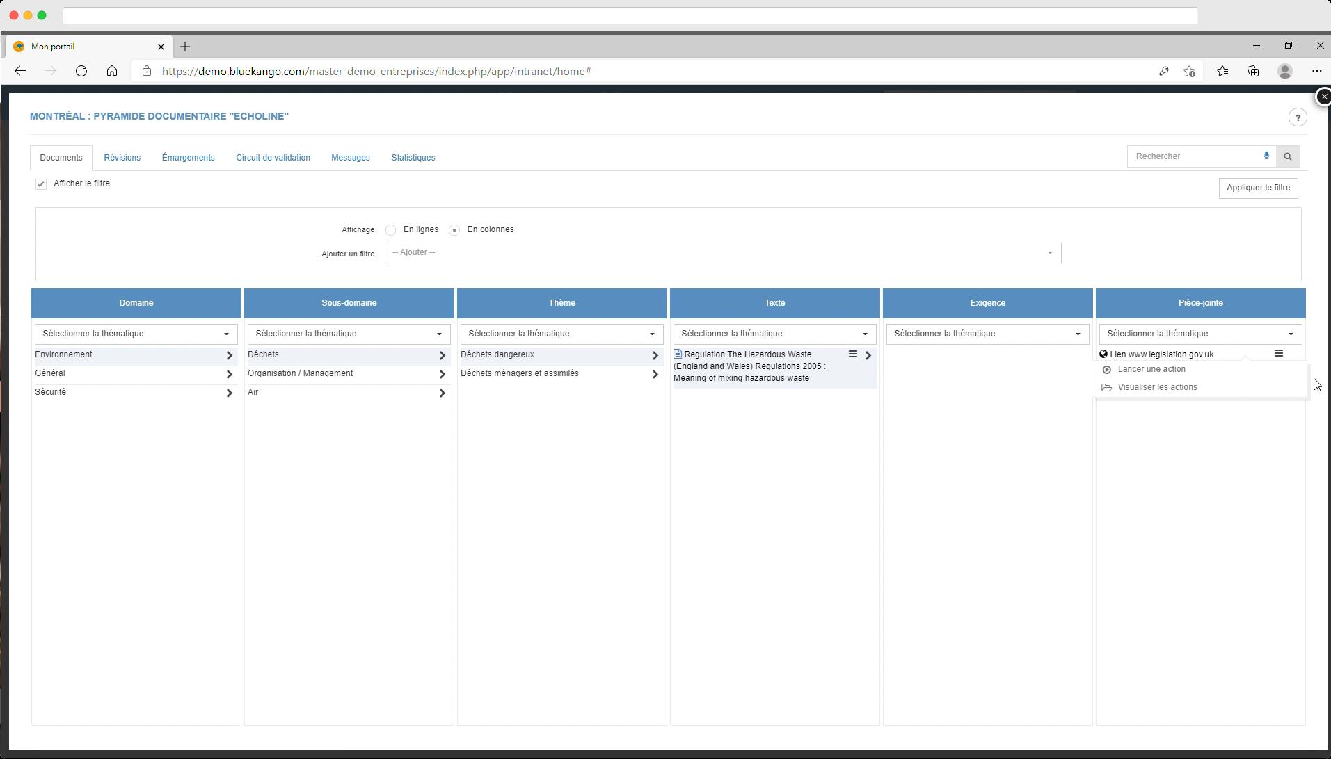 Capture d'écran : exemple de la bibliothèque Echoline pour accéder à un texte légal