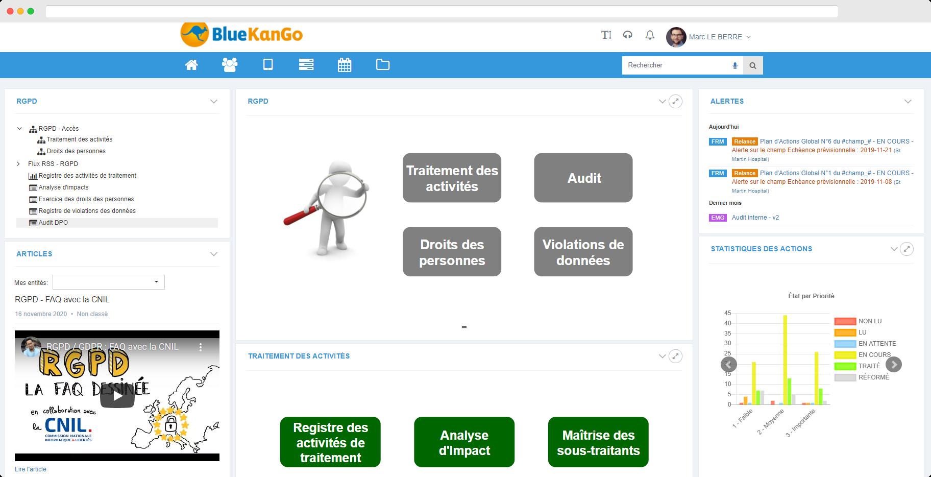 Capture d'écran du tableau de bord de la plateforme BlueKanGo concernant le module RGPD
