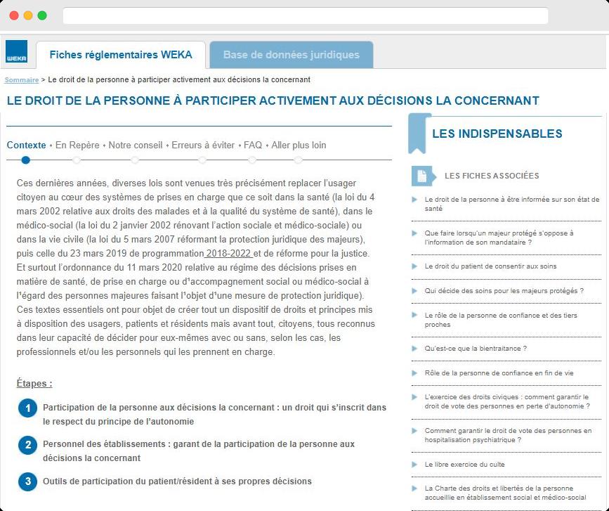 Capture d'écran avec un texte de veille réglementaire fournis par les éditions WEKA