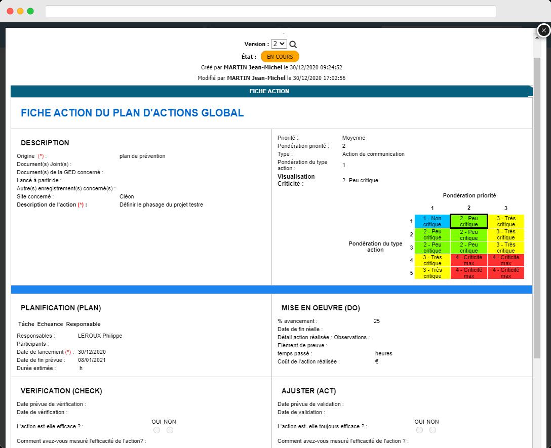 Capture d'écran : exemple de fiche d'action provenant du plan d'action global