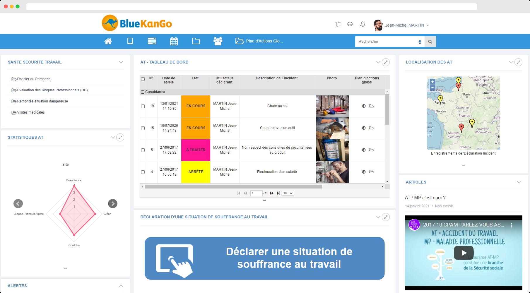 Capture d'écran Tableau de bord de l'offre Gestion des AT MP de la plateforme BlueKanGo