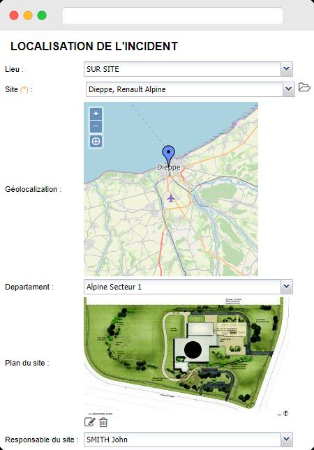 Capture d'écran localisation de l'incident de l'offre sur la Gestion des accidents de la plateforme BlueKanGo