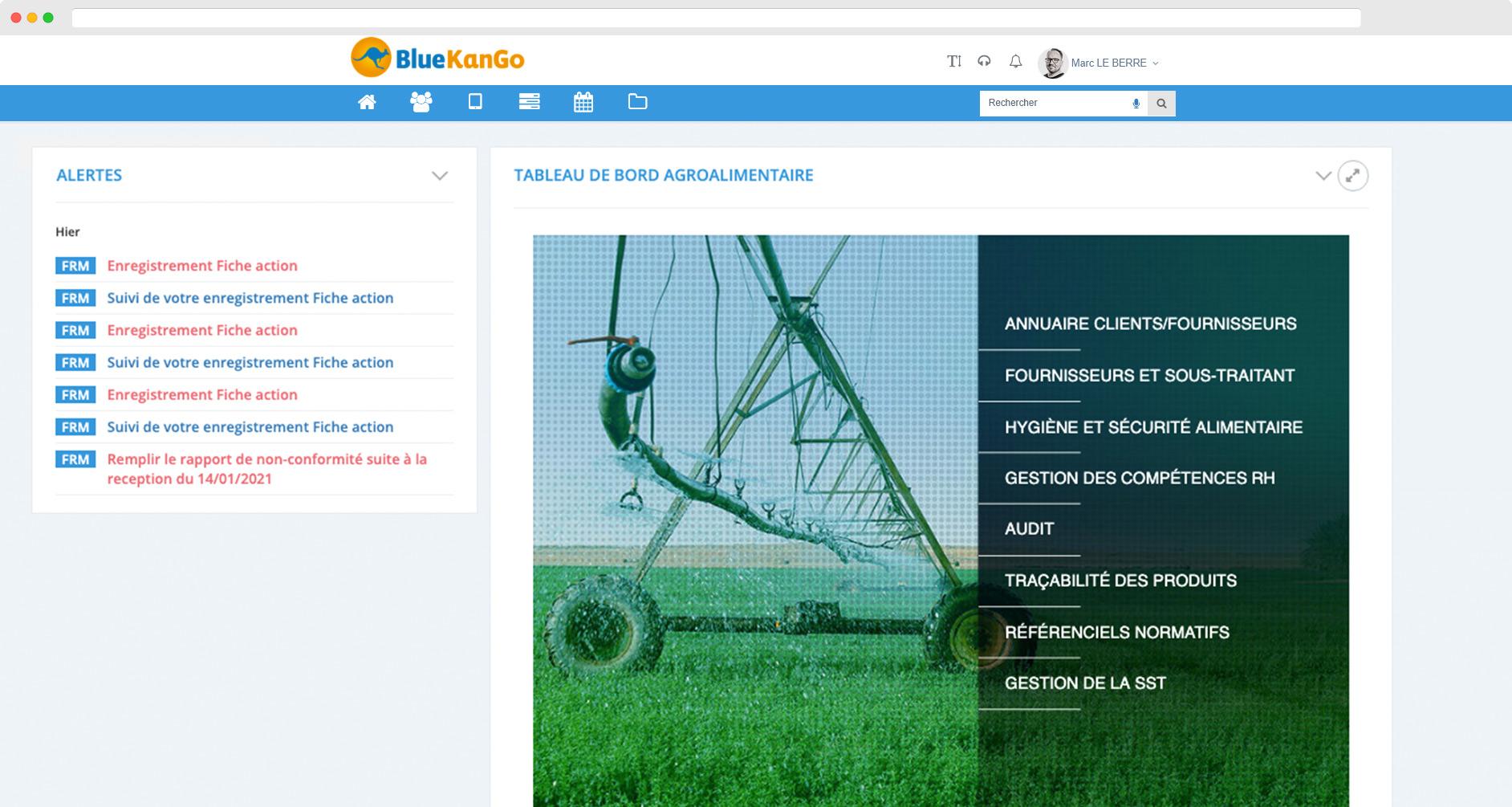 Capture d'écran du tableau de bord pour l'agroalimentaire SSE