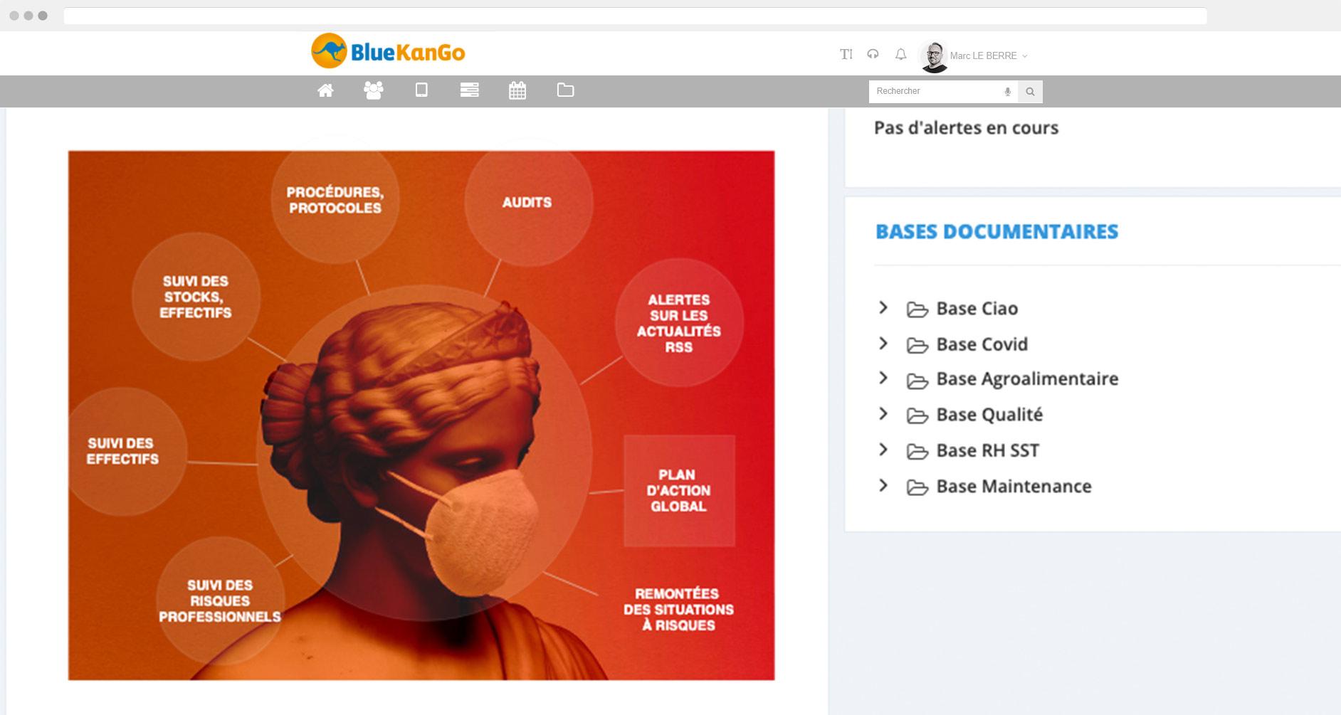 Plateforme BlueKanGo Canada sur la gestion covid (Capture d'écran)