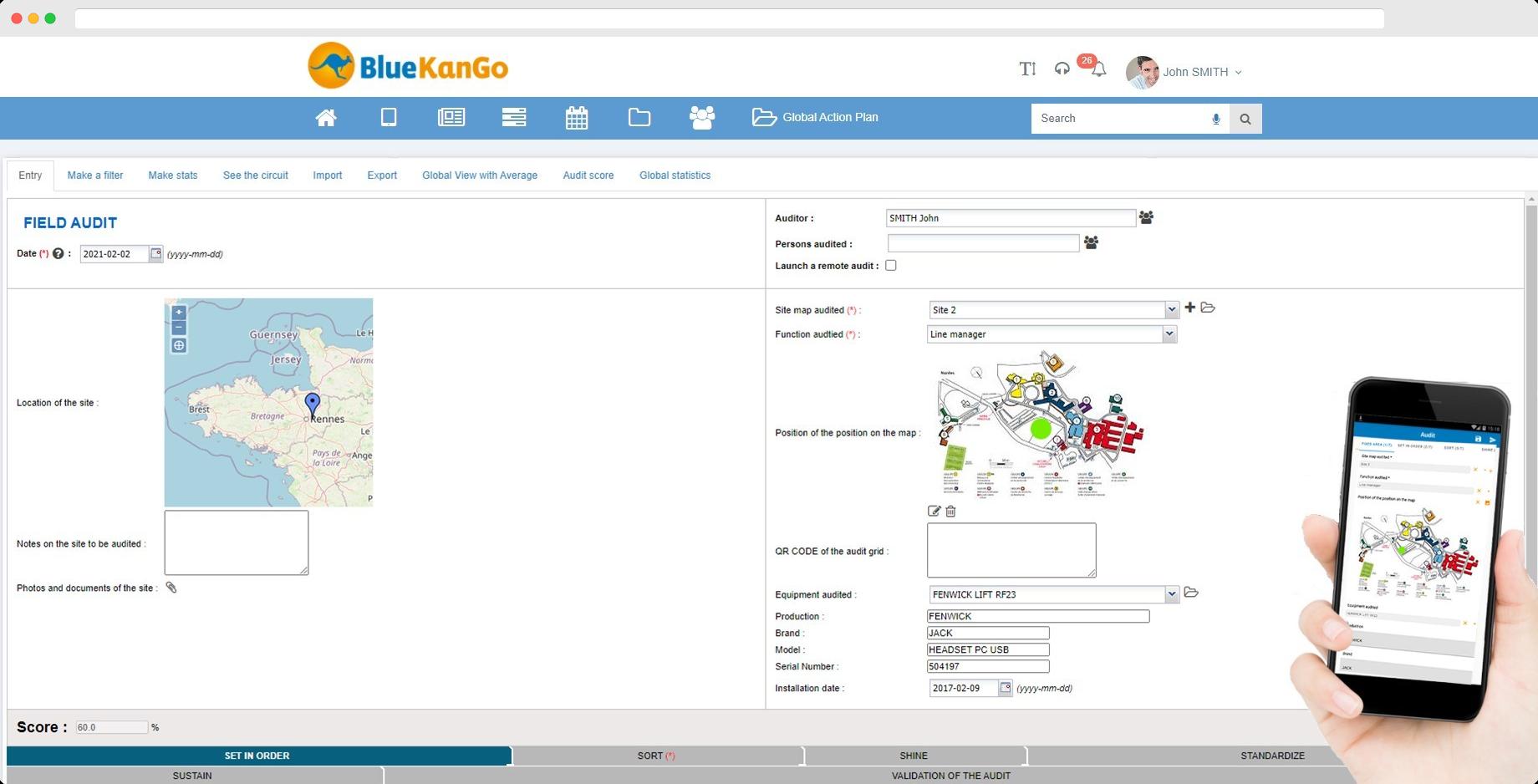 Screenshot of BlueKanGo's platform about Field audit