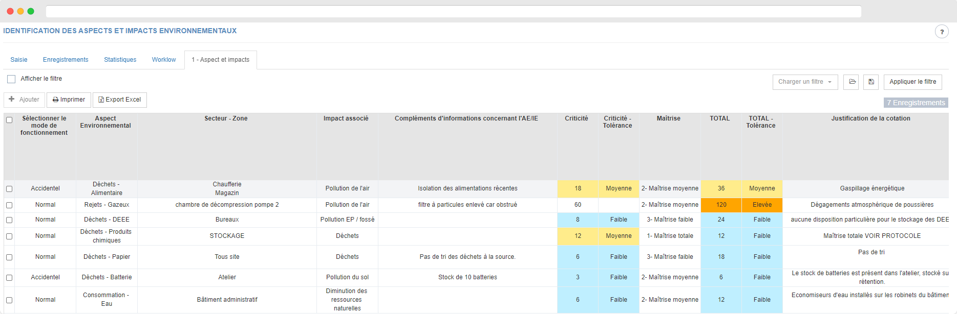Capture d'écran sur un tableau d'identification des aspects et impacts environnementaux