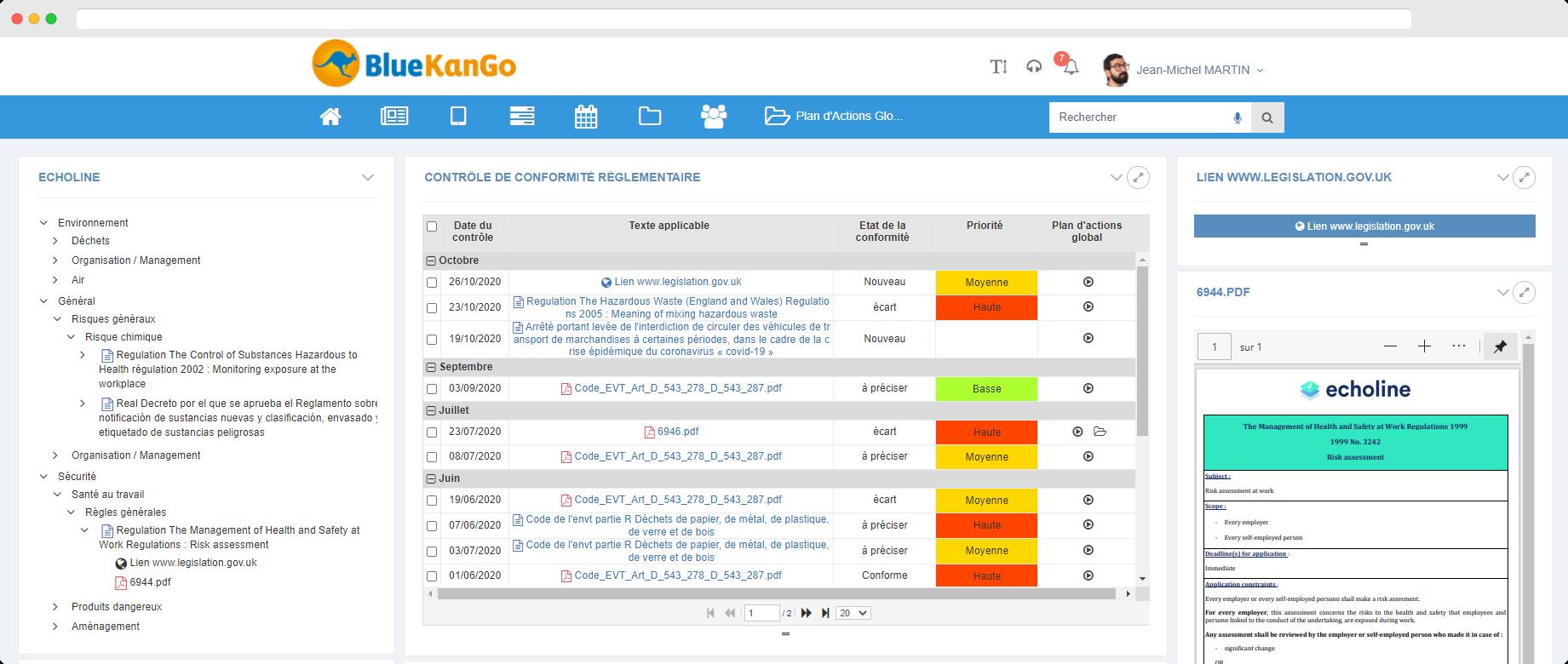 Capture d'écran de l'intégration de la veille réglementaire Echoline dans la plateforme BlueKanGo