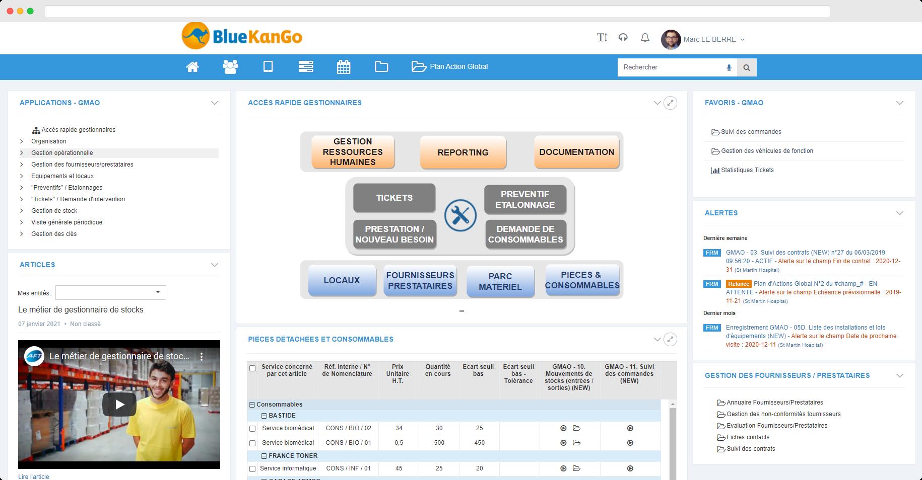 Capture d'écran : tableau de bord sur la gestion des équipements (GMAO)