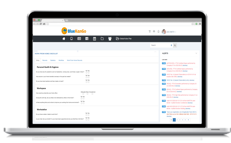 Example of dashboard of BlueKanGo platform by ESC