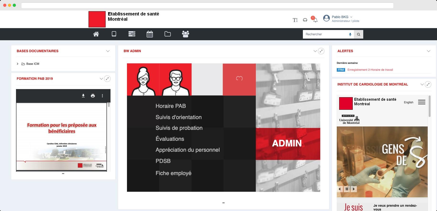 Capture d'écran : tableau de bord BlueKanGo Canada sur la gestion du parcours du personnel