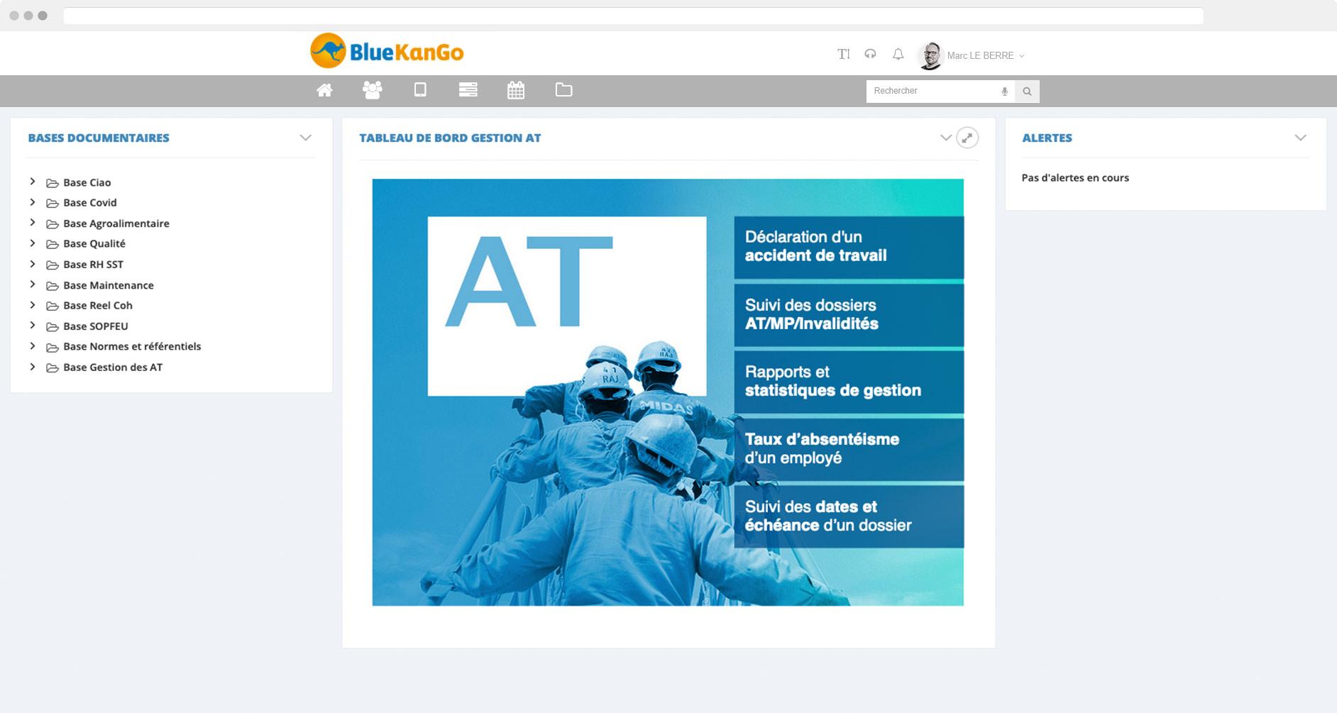 Capture d'écran tableau de bord de la plateforme BlueKanGo Gestion des AT MP