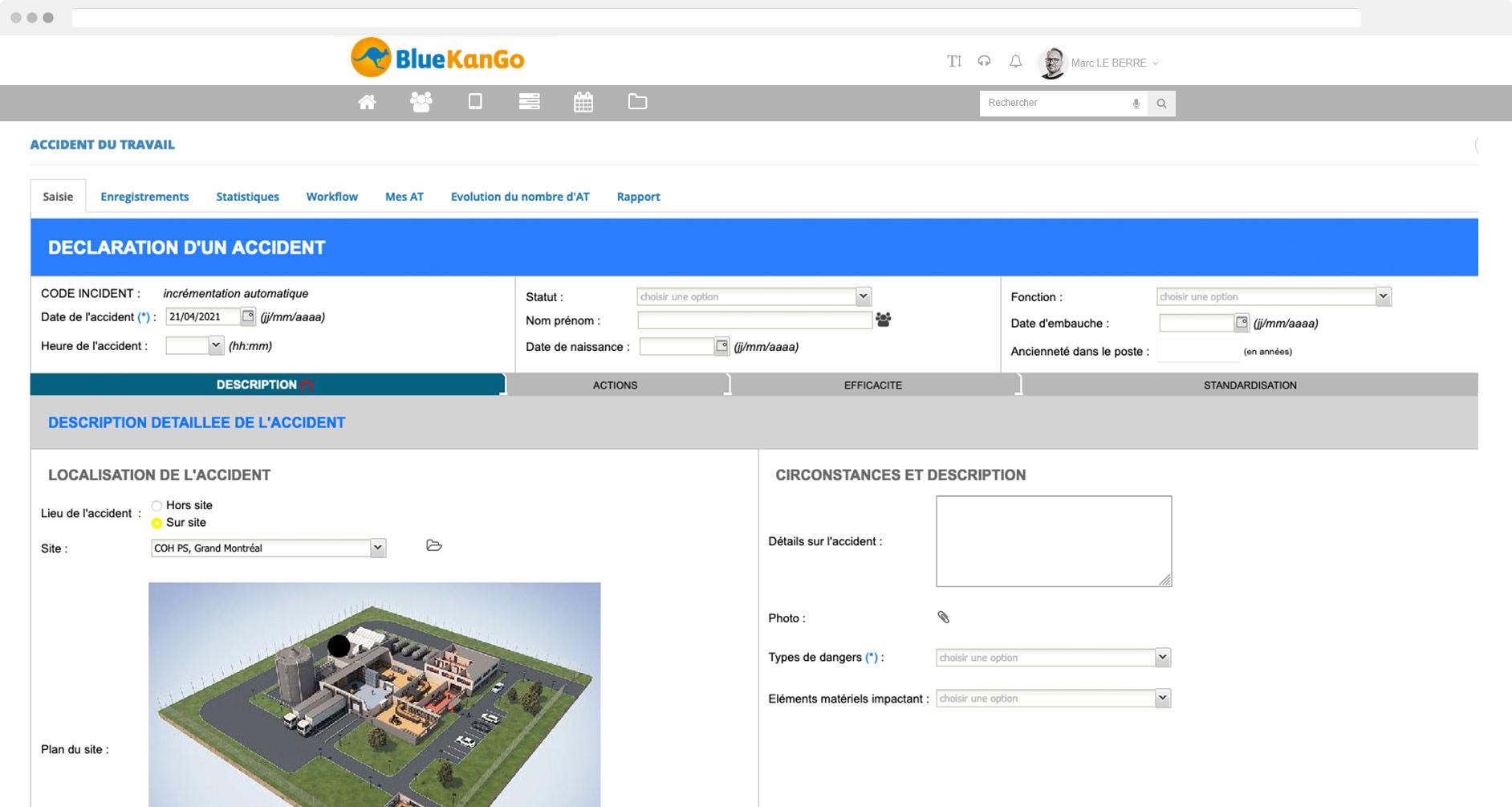 Capture d'écran plateforme BlueKanGo Gestion des AT MP