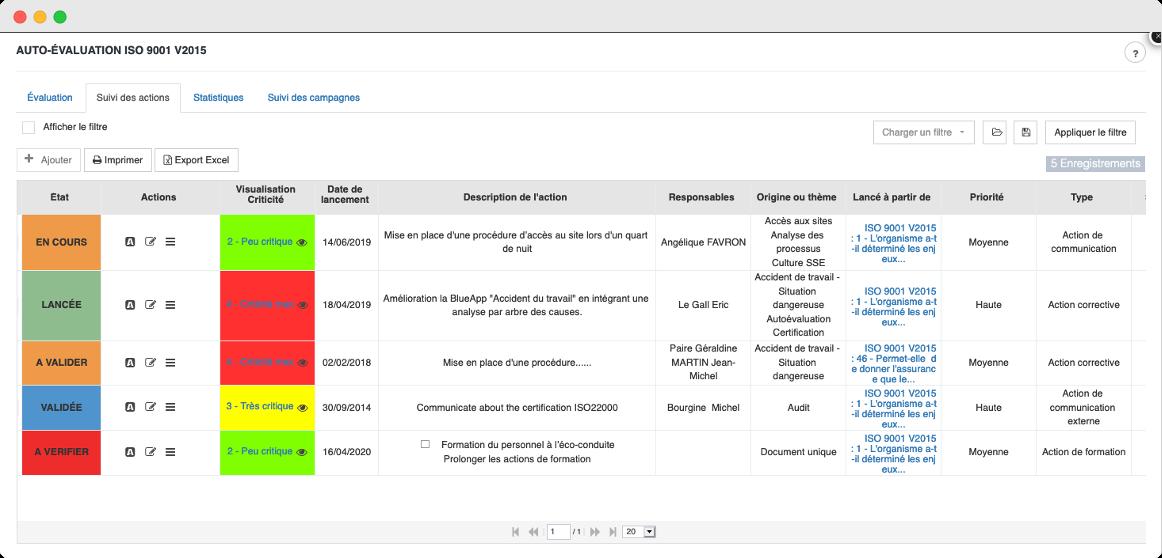 Normes et référentiels ISO Tableau auto évaluation par BlueKanGo